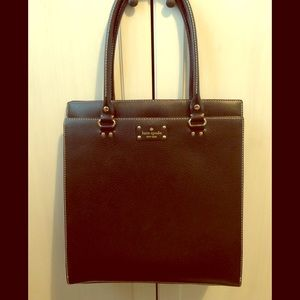 kate spade structured leather bag black